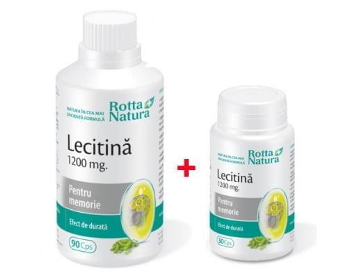 PACHET---LECITINA-1200mg-90cps-+-LECITINA-1200mg-30cps(gratuit)-ROTTA-NATURA